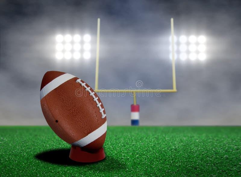 Pontapé livre do futebol com projetores ilustração stock