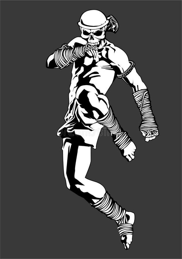 Pontapé tailandês do salto do lutador do crânio de Muay ilustração royalty free