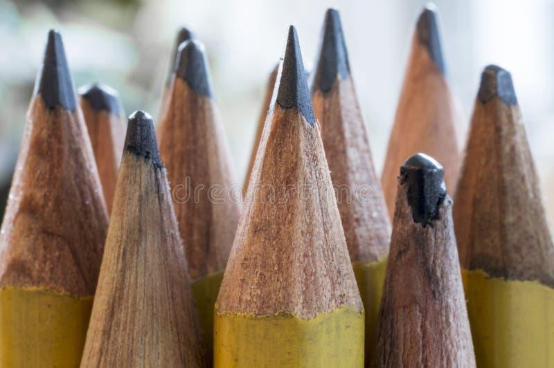 Pontas amarelas do lápis no macro fotos de stock royalty free