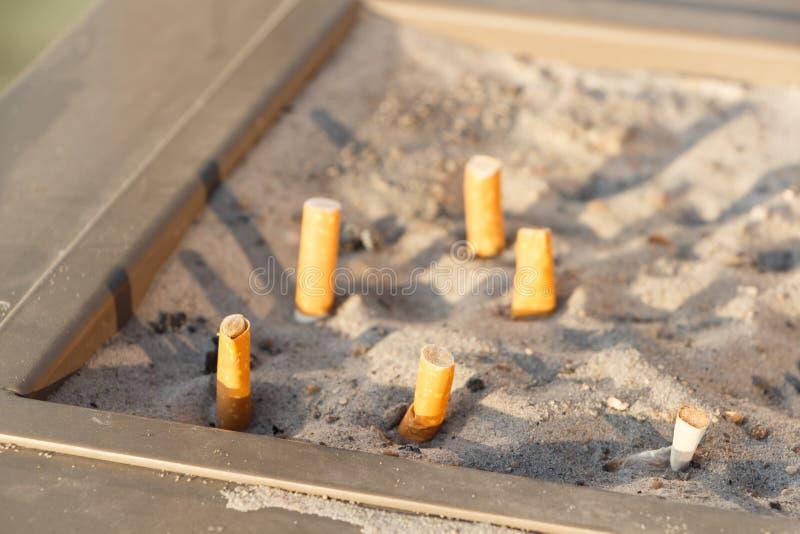 Pontas de cigarro em um cinzeiro imagem de stock royalty free
