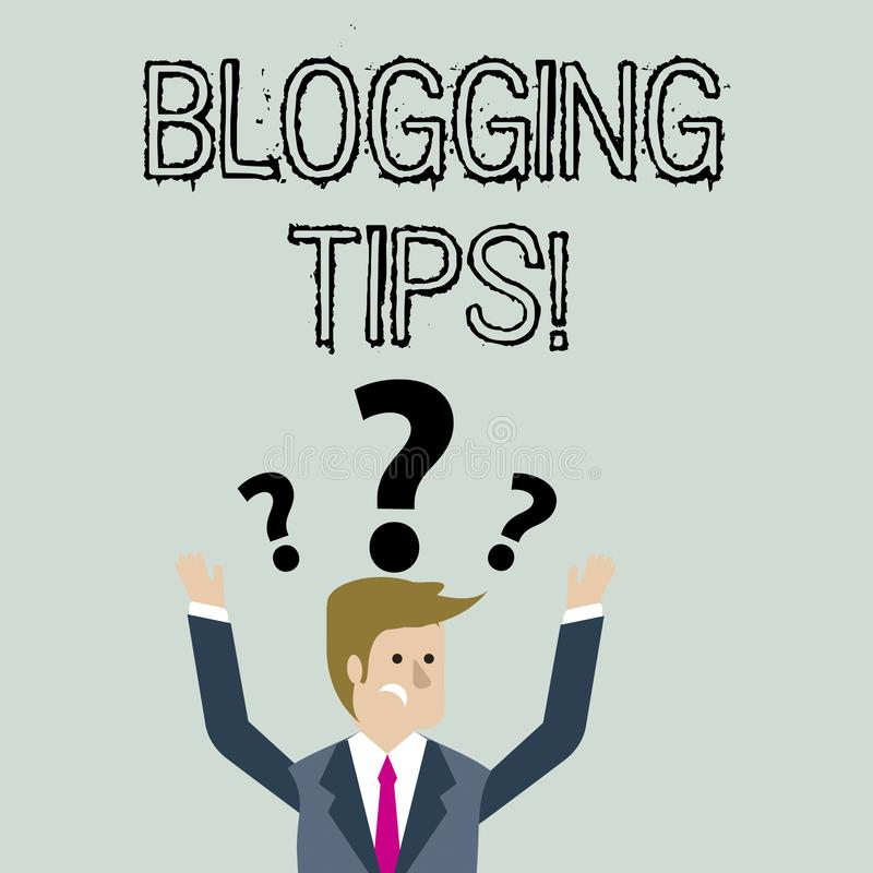 Pontas publicando em blogs do texto da escrita Conceito que significa ideias em como melhorar a discuss?o ou o Web site informati ilustração stock