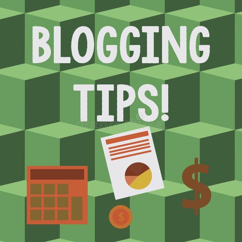 Pontas publicando em blogs do texto da escrita Conceito que significa ideias em como melhorar a discussão ou o Web site informati ilustração royalty free