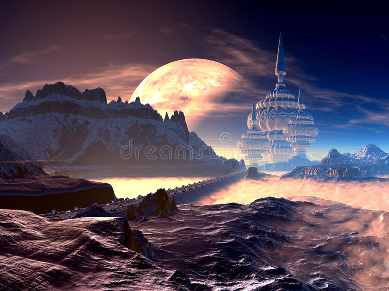Ponte à cidade estrangeira elevada no planeta distante ilustração stock