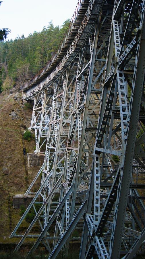 Ponte abbandonato del ferro nelle montagne fotografia stock libera da diritti