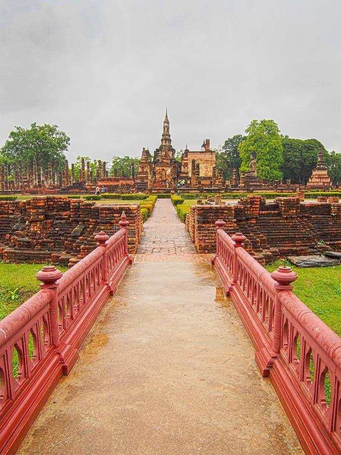Ponte al parco storico Tailandia di Sukhothai fotografia stock