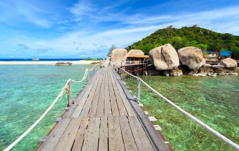 Ponte all'isola di Nangyuan, Suratthani, Tailandia immagine stock