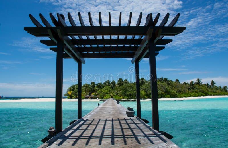 Ponte all'isola tropicale alle Maldive fotografia stock