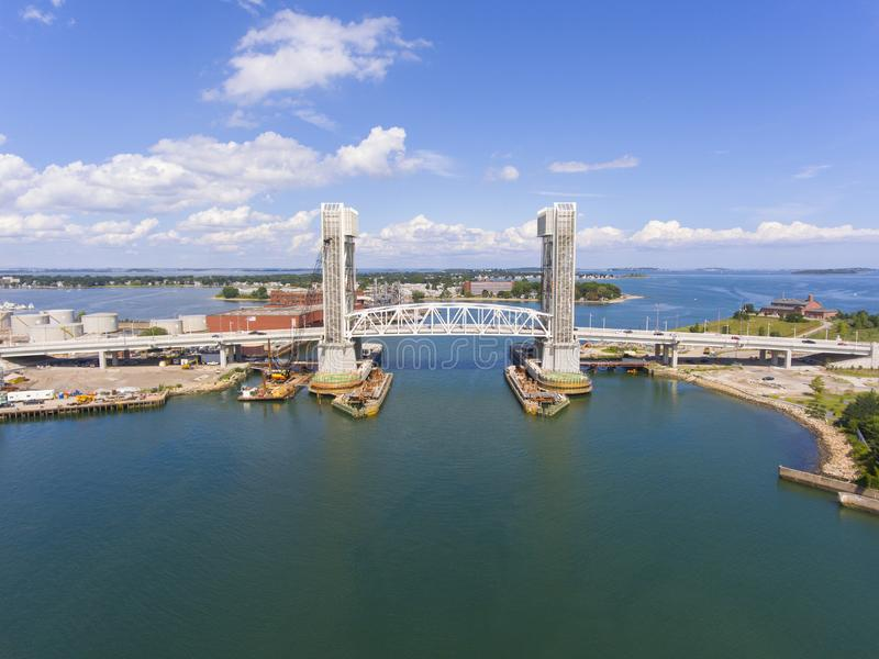 Ponte anteriore del fiume in Quincy, Massachusetts, U.S.A. fotografie stock