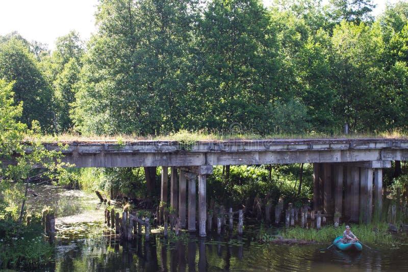 Ponte arruinada velha coberto de vegetação com o musgo em um dia de verão ensolarado fotografia de stock