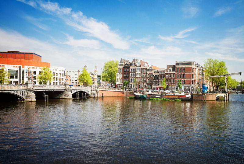 Ponte blu di Amsterdam fotografia stock