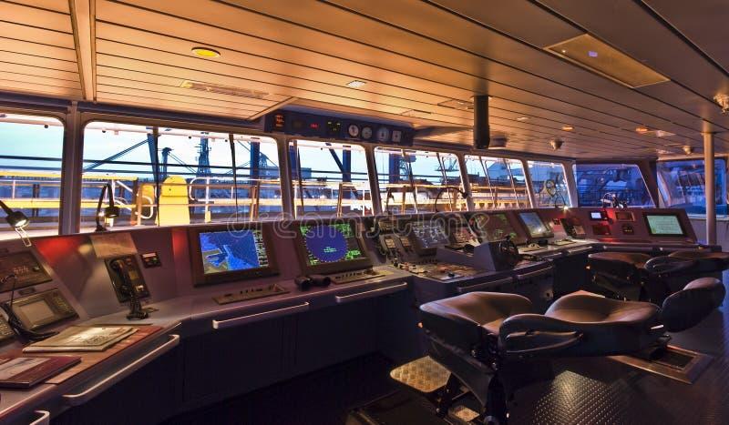 Ponte a bordo della nave moderna immagini stock