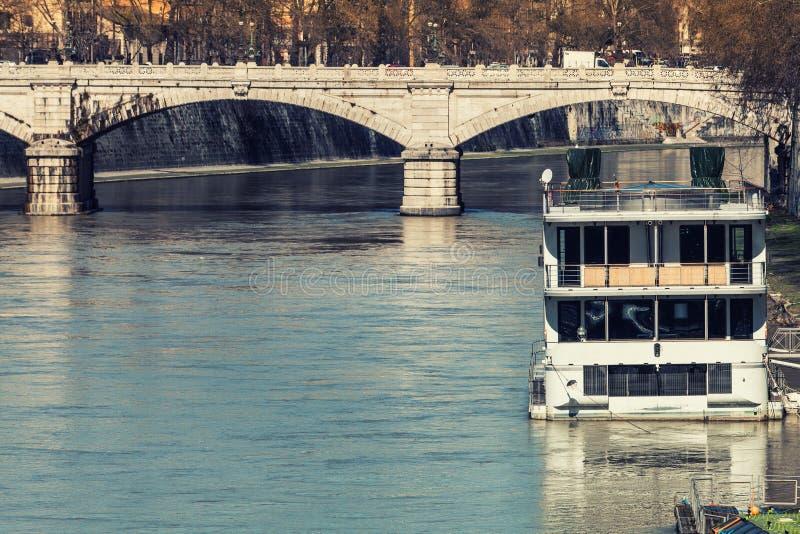 Ponte (Bridge) Giuseppe Mazzini, Roma. Italy. Ponte Giuseppe Mazzini, also known as Ponte Mazzini, is a bridge that links Lungotevere dei Sangallo to Lungotevere stock photo