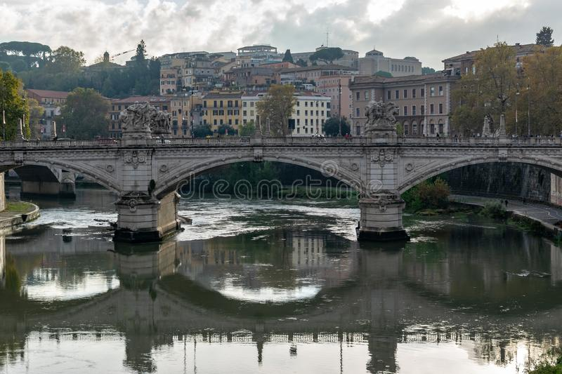 Ponte Bridge Vittorio Emanuele II a famous bridge in Rome across the Tiber. With four sculptures symbolizing the Defeat of Oppression, the Unity of Italy, the royalty free stock photography