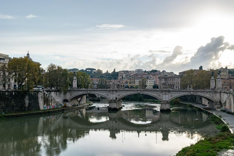 Ponte Bridge Vittorio Emanuele II a famous bridge in Rome. Across the Tiber, with four sculptures symbolizing the Defeat of Oppression, the Unity of Italy, the stock images