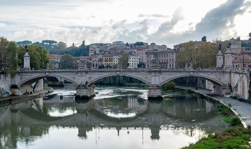 Ponte Bridge Vittorio Emanuele II a famous bridge in Rome. Across the Tiber, with four sculptures symbolizing the Defeat of Oppression, the Unity of Italy, the stock image