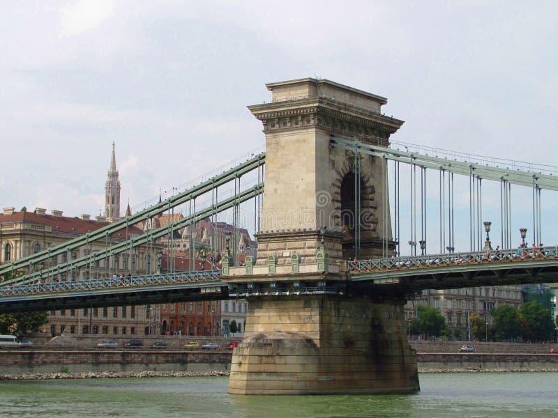 Ponte a catena ed il Danubio in Ungheria, Budapest immagine stock