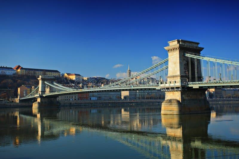 Ponte Chain, Szechenyi Lanchid foto de stock