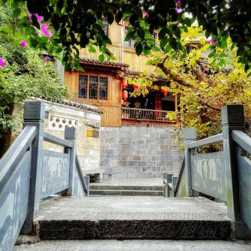 Ponte cinese 2 della pietra della città antica immagini stock libere da diritti