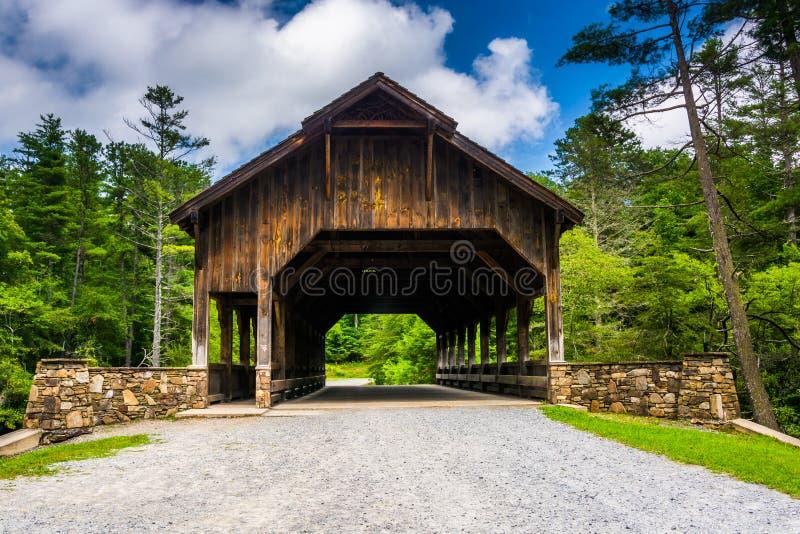 A ponte coberta acima das quedas altas, na floresta do estado de Du Pont, nem imagem de stock royalty free