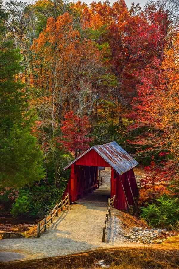 Ponte coberta de Campbells com Autumn Fall Colors Landrum Greenville South Carolina fotografia de stock royalty free