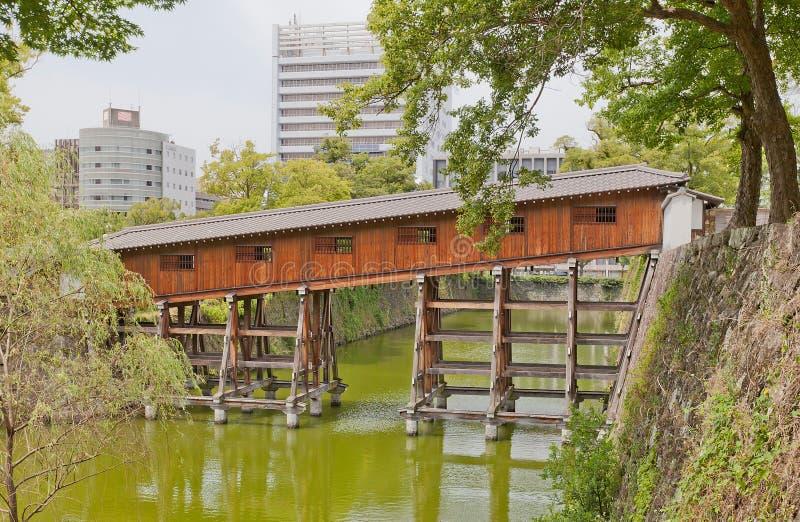 Ponte coberta de Ohashiroka do castelo de Wakayama, Japão fotografia de stock royalty free