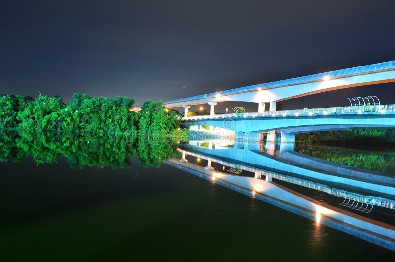 Ponte com a estrada de ferro elevada do trem pelo rio imagem de stock royalty free