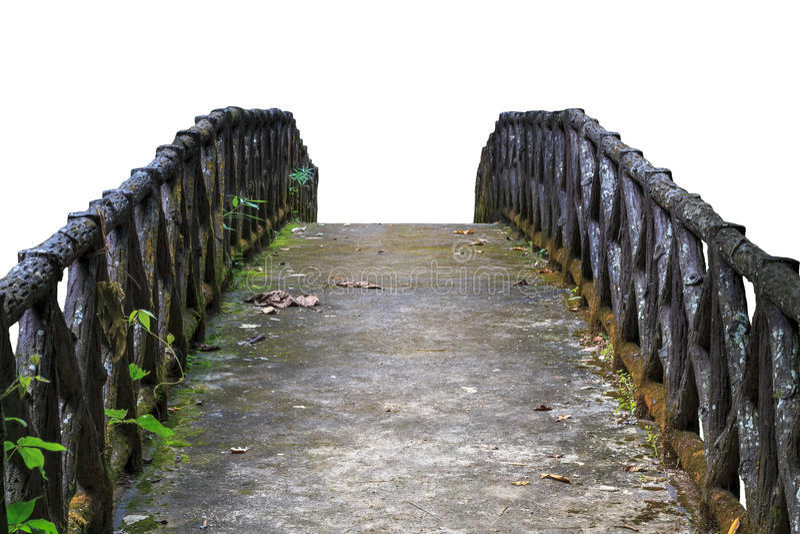 Ponte concreta velha Isolado no fundo branco foto de stock