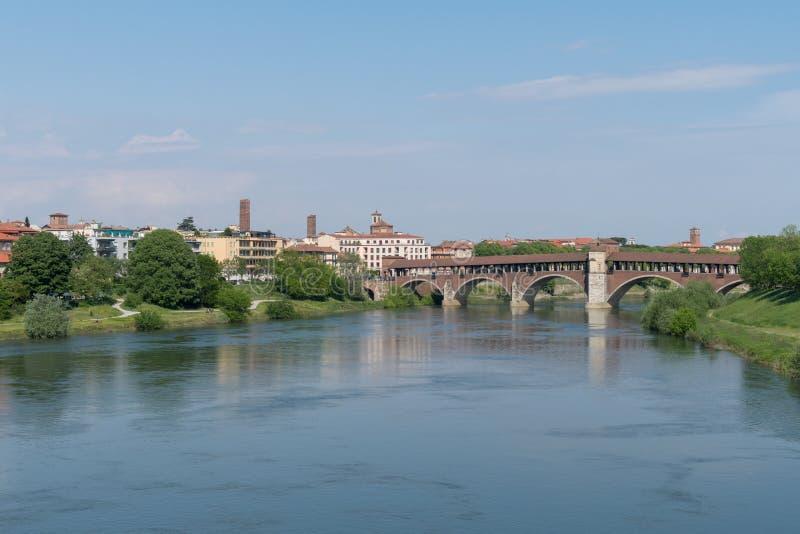 Ponte Coperto桥梁,帕尔瓦,伦巴第,意大利 库存照片