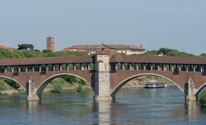 Ponte Coperto桥梁,帕尔瓦,伦巴第,意大利 免版税库存图片