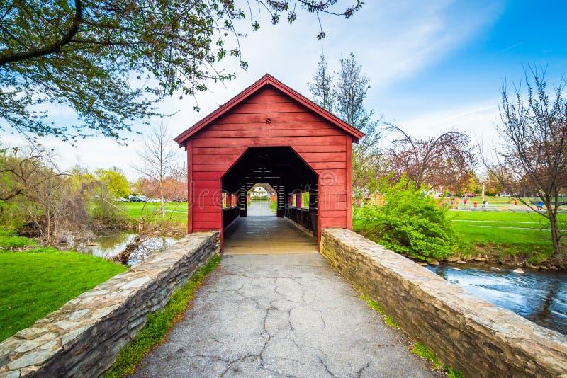 Ponte coperto al panettiere Park, in Frederick, Maryland fotografia stock