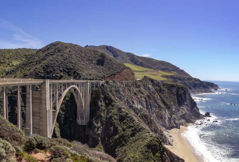 A ponte da angra de Bixby da estrada 1 - a ponte litoral de Califórnia imagem de stock