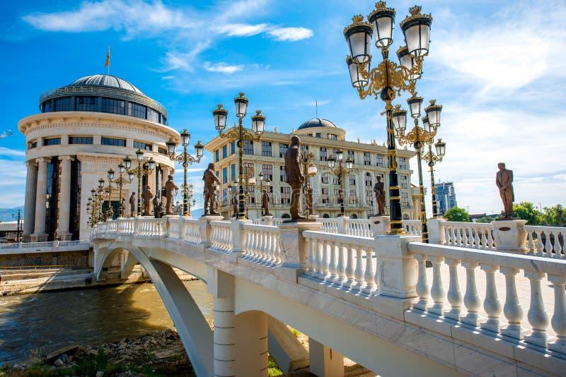Ponte da arte em Skopje fotografia de stock royalty free