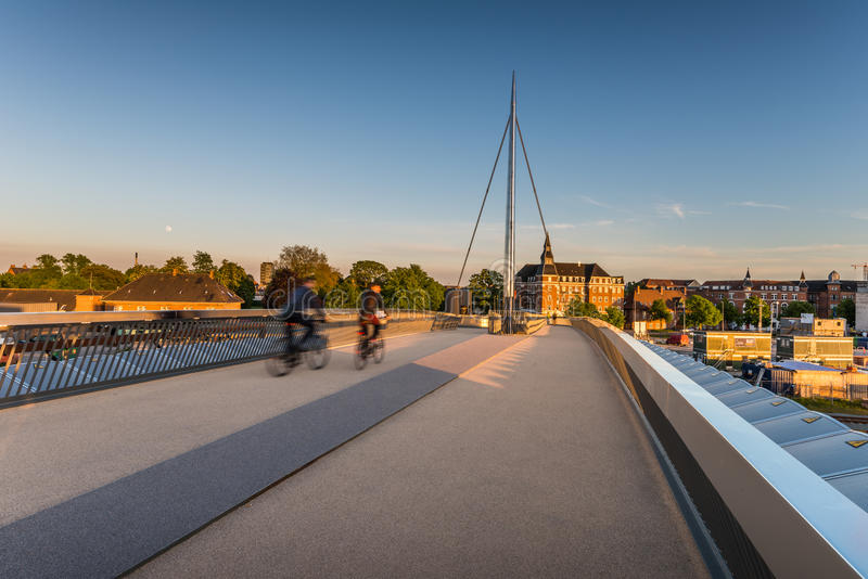 A ponte da cidade em Odense, Dinamarca imagem de stock royalty free