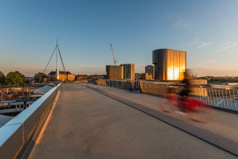 A ponte da cidade em Odense, Dinamarca fotografia de stock