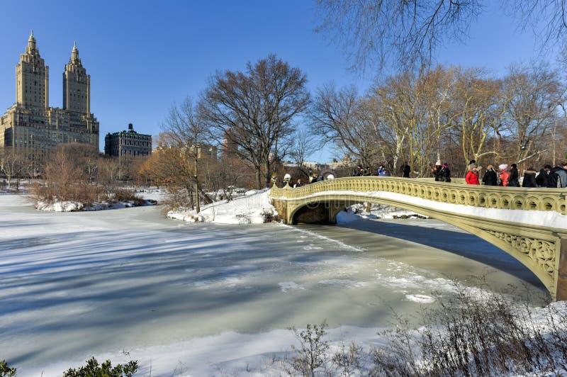 Ponte da curva - Central Park, New York fotografia de stock