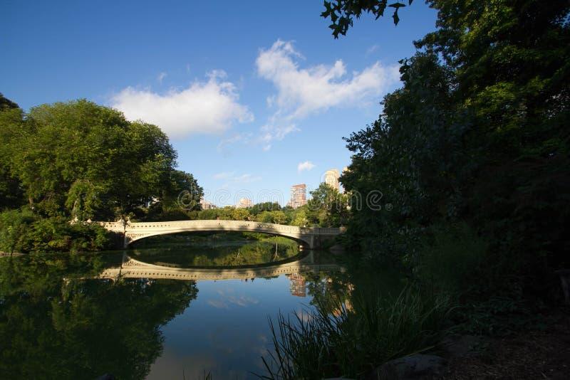 Ponte da curva sobre o lago reflexivo e árvores no Central Park imagem de stock