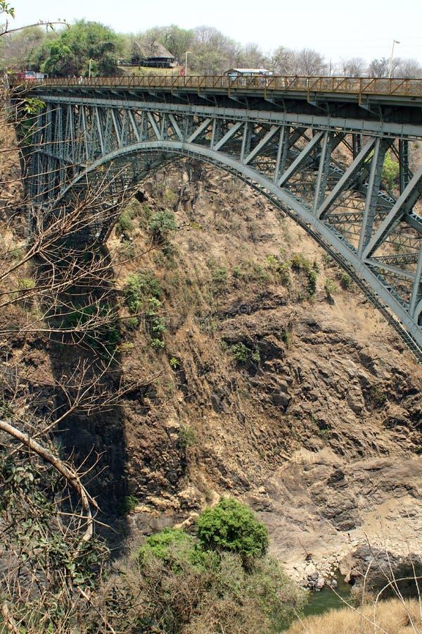 Ponte da estrada de ferro através do Zambezi River imagem de stock