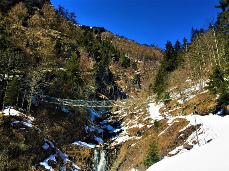 Ponte da montanha, da floresta, do inverno, da neve e do tibetano foto de stock