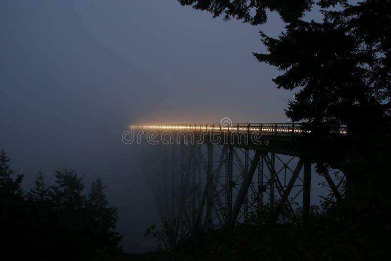 Ponte da passagem da decepção na noite imagens de stock