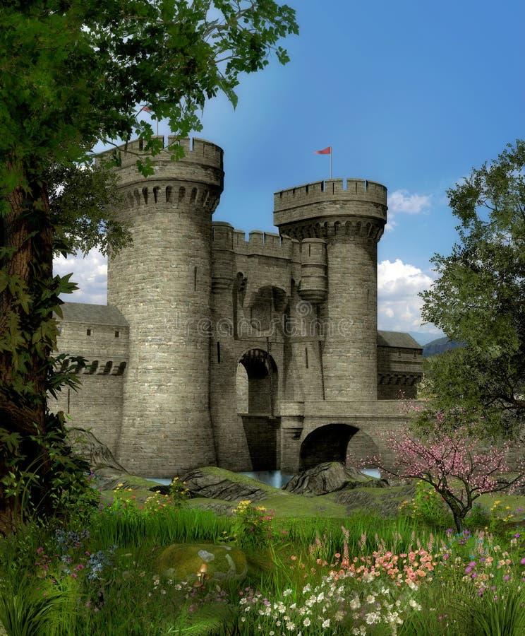 Ponte da porta do castelo da fantasia ilustração do vetor