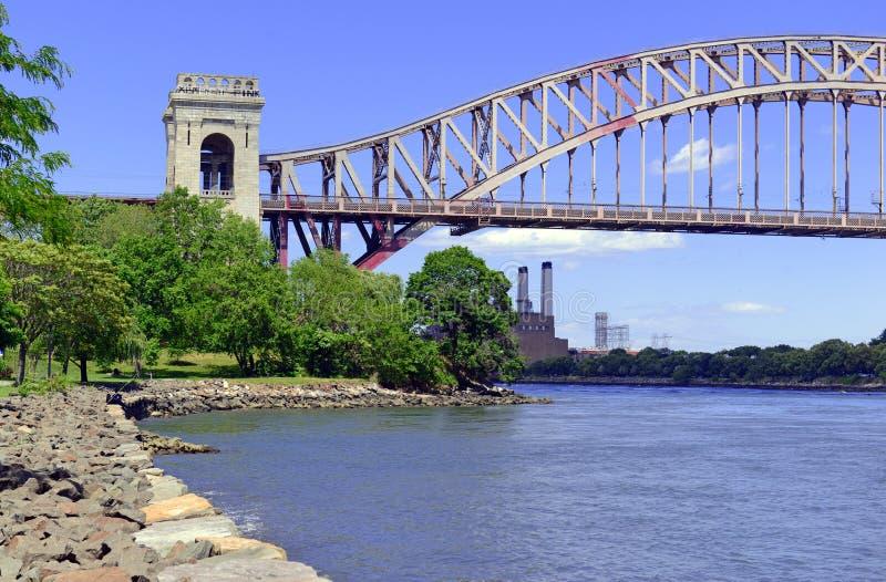 A ponte da porta do inferno (ponte do arco de East River) em New York City fotografia de stock royalty free