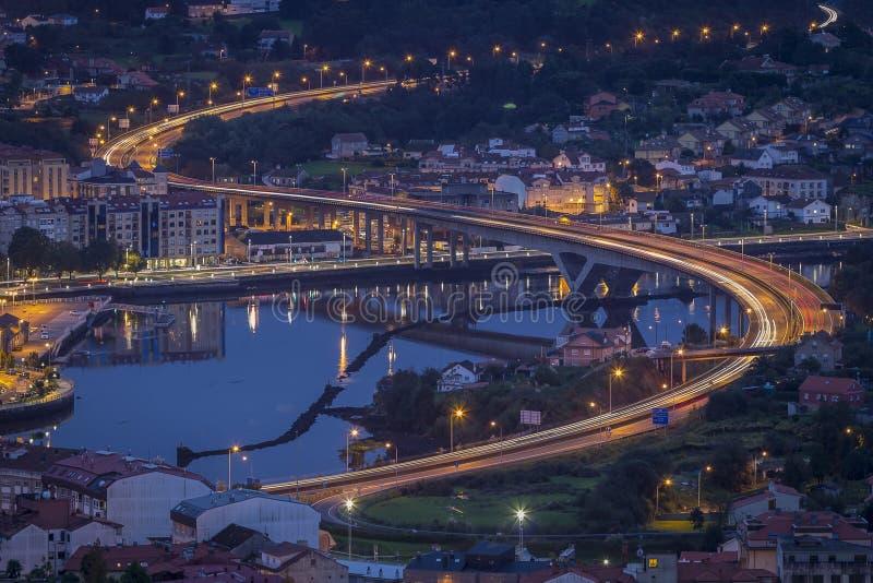 Ponte da Ria Pontevedra Galicia Spain. Traffic lights at Ponte da Ria over Lérez river as it passes by Pontevedra Galicia Spain stock image