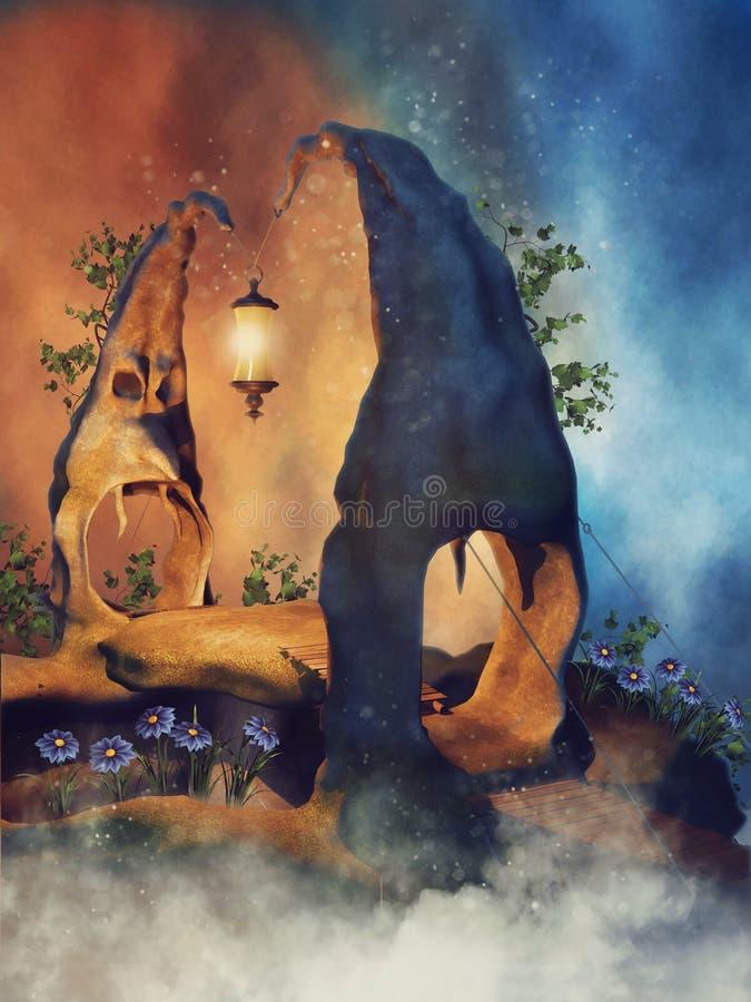 Ponte da rocha da fantasia ilustração do vetor