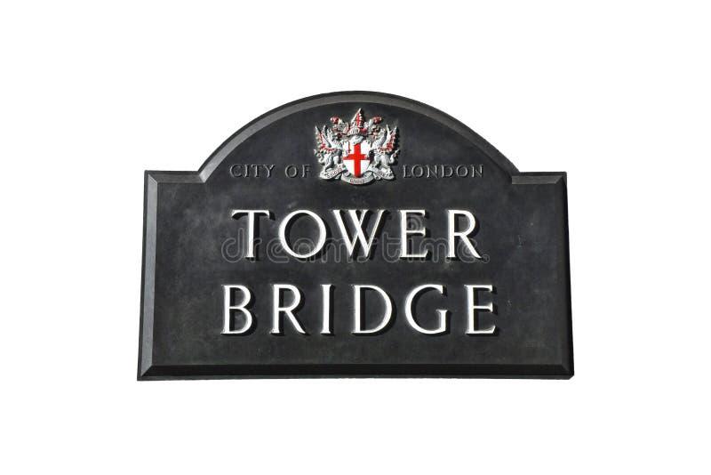 A ponte da torre assina dentro Londres fotografia de stock