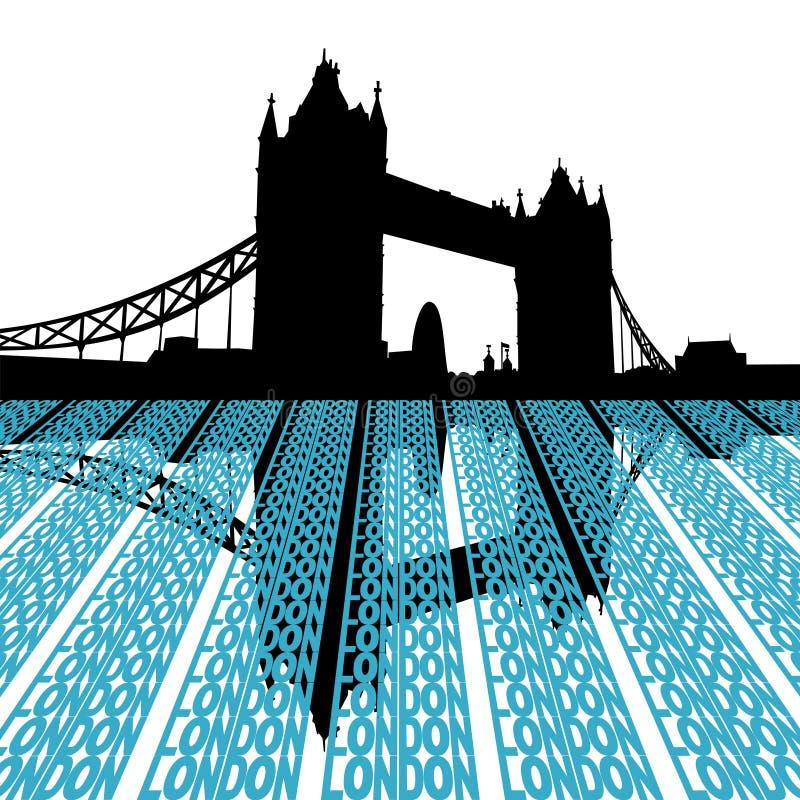 Ponte da torre com texto de Londres ilustração do vetor