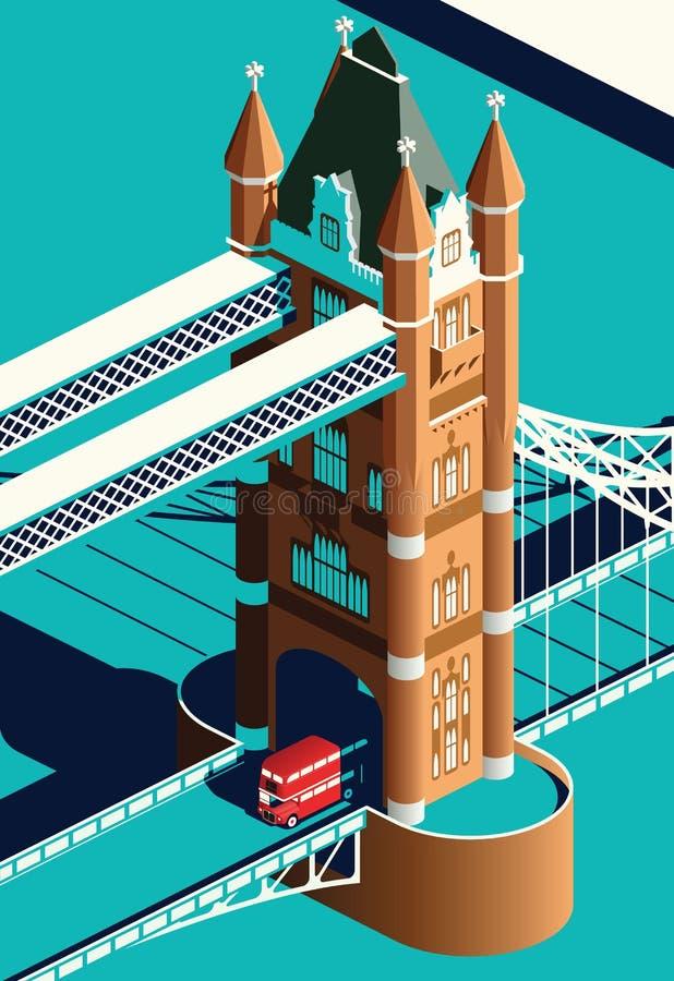 Ponte da torre de Londres e ônibus do ônibus de dois andares ilustração do vetor