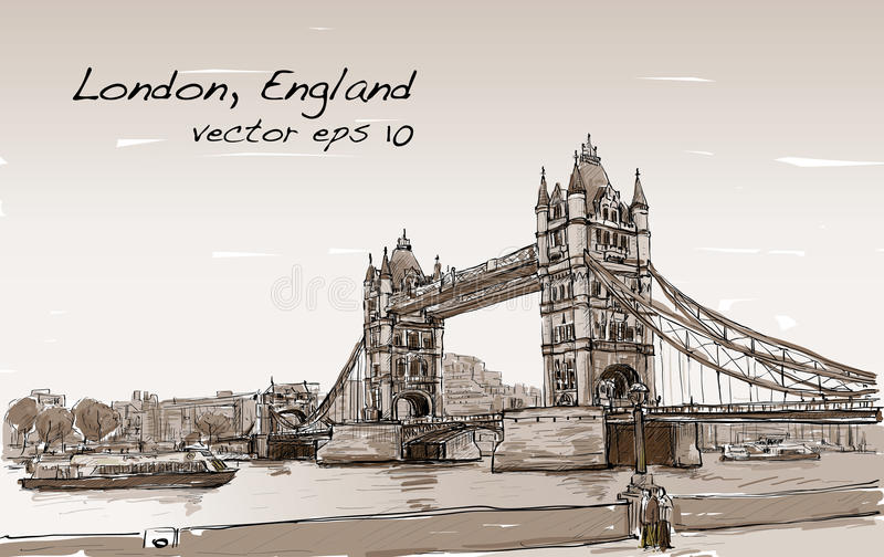 Ponte da torre do esboço do desenho da arquitetura da cidade, Londres, Inglaterra no Sepia ilustração stock