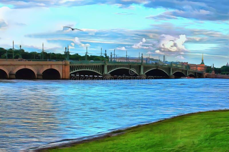 Ponte da trindade atrav?s de Neva River em St Petersburg ilustração do vetor