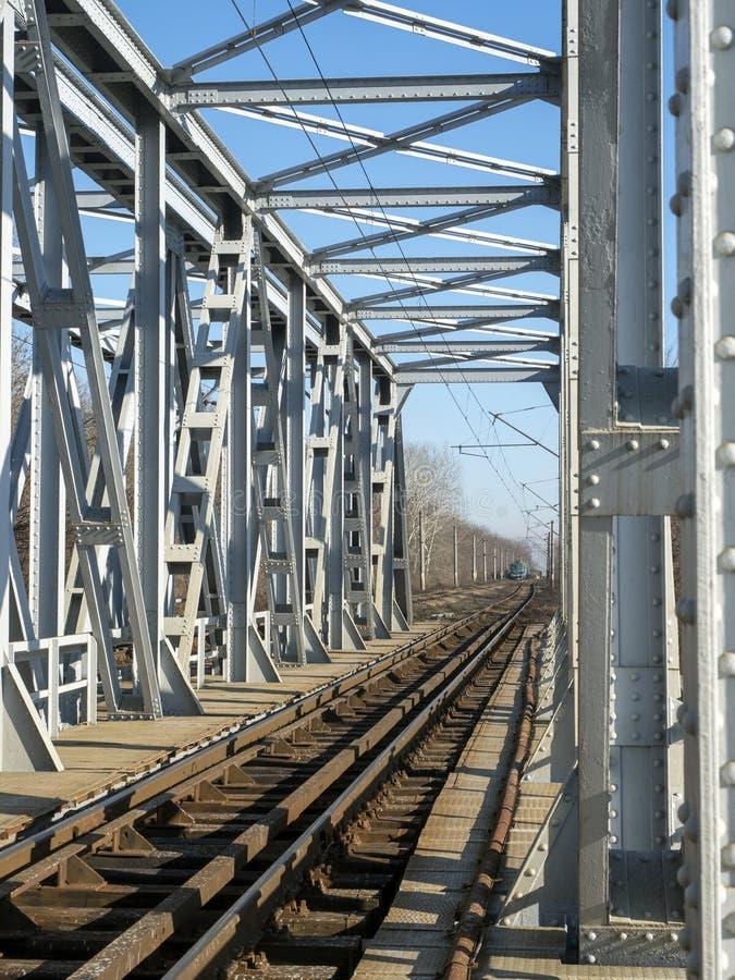Ponte de aço da estrada de ferro foto de stock royalty free