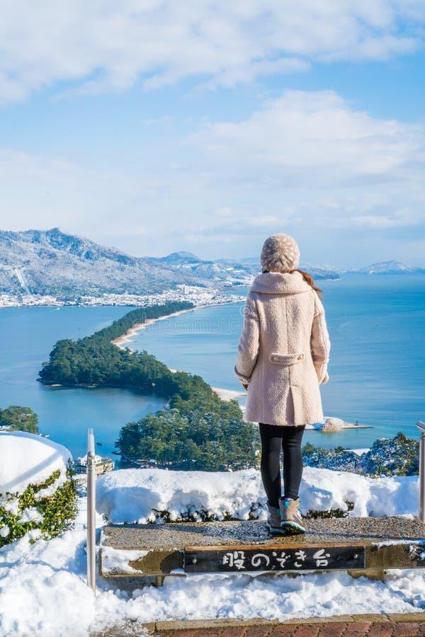 Ponte de Amanohashidate ao ponto de vista do céu foto de stock royalty free